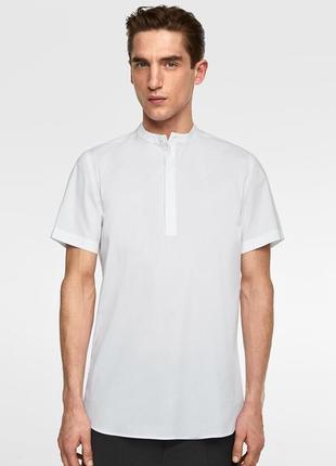Белая рубашка zara man с воротником-стойкой !