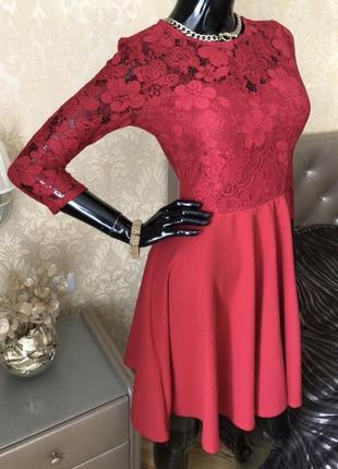 Кружевное платье красное, размер 44