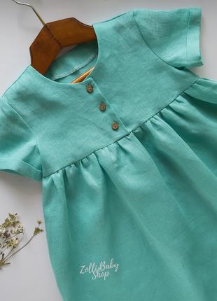 Стильное детское  платье из 100 % льна 104 размера (3-4 года)