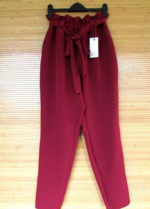 Летние стильные женские брюки с высокой талией, бордовые