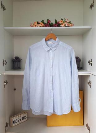 Хлопковая рубашка в полоску длинный рукав h&m