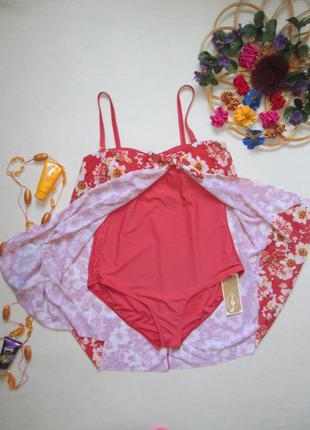 Шикарный раздельный купальник платье в терракотовый в цветочны...