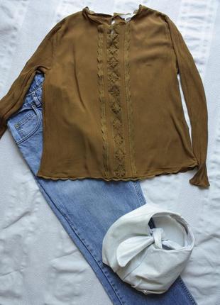 Романтична блуза гірчичного кольору h&m, m/l