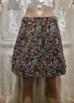 Фирменная boohoo трикотажная юбка-мини в цветочный принт ткань...