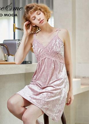 Сорочка ночная женская бархатная кружевная. комбинация с круже...