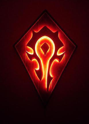 """Настенное панно - светильник """"Warcraft - Horde"""""""