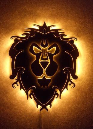 """Настенное панно - светильник """"Warcraft - Aliance"""""""
