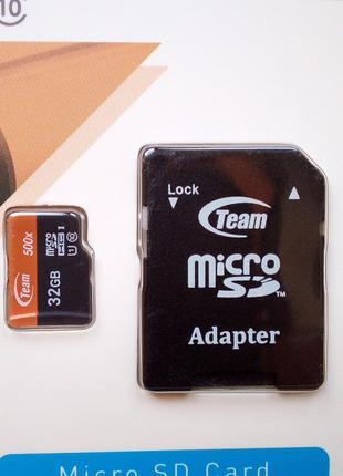 Карта памяти 32 GB microSD TEAM Class10 (с адаптером SD)