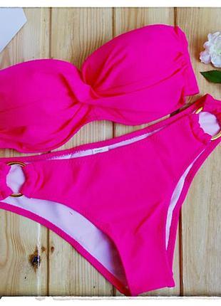 Купальник - бандо ярко-розовый с двойным пуш-ап