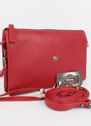 Клатч кожаный женский красный