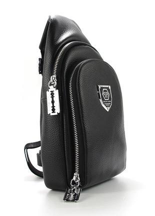 Рюкзак на одно плечо кожзам черный