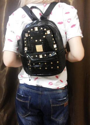 Рюкзак кожзам женский черный малый