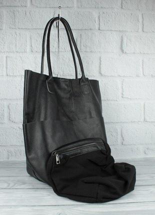 Сумка шоппер большая кожаная женская с клатчем черная
