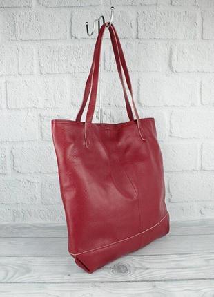 Сумка шоппер большая кожаная женская с клатчем красная