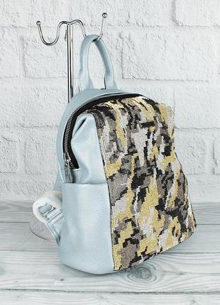 Рюкзак женский серо-голубой с камнями velina fabbiano