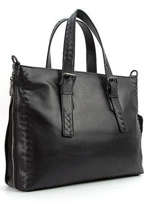 Портфель-сумка кожаная для документов, папка черная