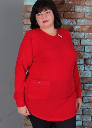 Кофта, свитер , туника из ангоры женская большого размера , ба...