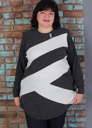 Кофта, свитер, туника теплая большого размера, батал_00007