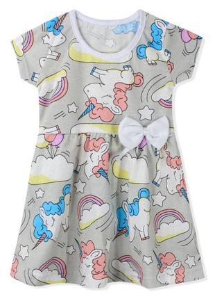 Платье для девочки, серое. милые единороги.