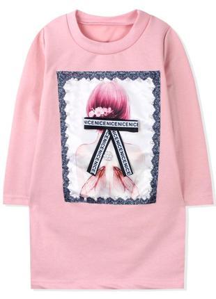 Платье для девочки, розовое. бантик.
