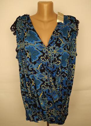 Блуза на запах в орнамент новая трикотажная кружево большой ра...