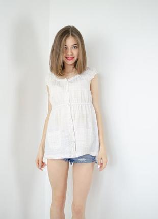 Vera wang хлопковая блуза с карманами в мелкую клетку