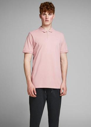 Футболка поло мужская бледно розовая jack & jones