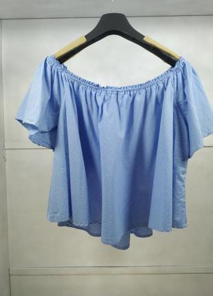 Блузка голубая в полоску с коротким рукавом