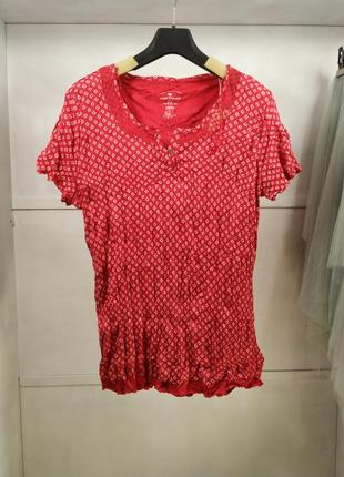 Блузка красная жатая с коротким рукавом tom tailor