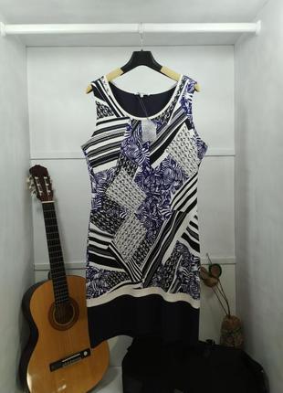 Платье без рукавов синее с узором