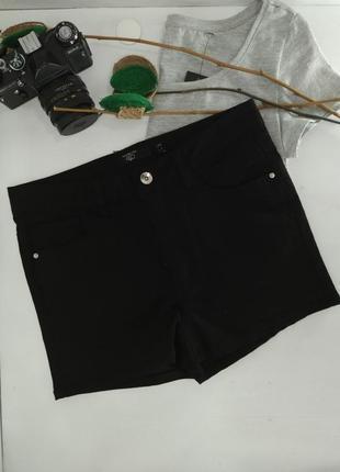 Черные короткие джинсовые шорты с высокой посадкой