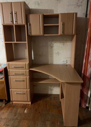 Стол компьютерный угловой + шкаф для студента/школьника