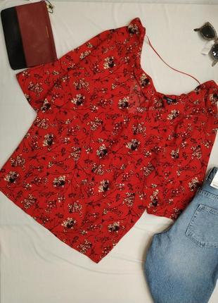 Блузка красная с коротким рукавом большой размер Kiabi
