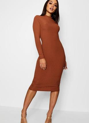 Платье миди по фигуре с длинным рукавом