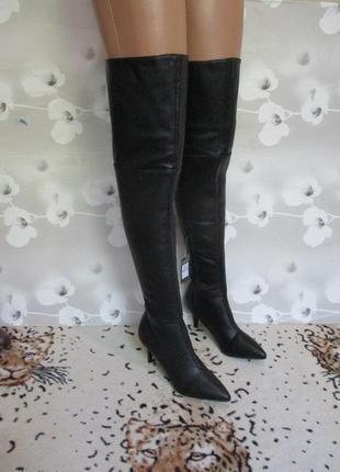Стильные ботфорды/сапоги высокие демисезонные/острый носок
