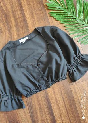 Черный топ кроп. топ блуза