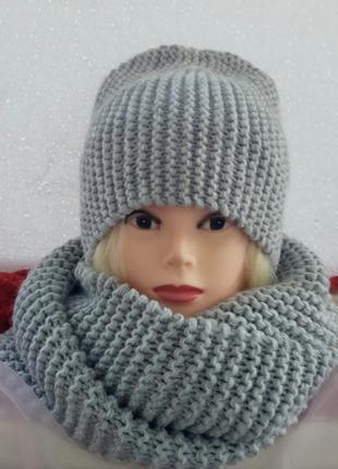 комплект шапка с высокой макушкой и снуд цвет светло-серый