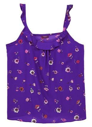Майка фиолетовая с цветочным принтом на тонких бретелях Yessica
