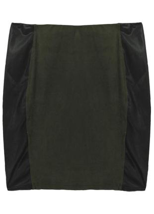 Юбка мини эко замш зеленая со вставками Kiabi
