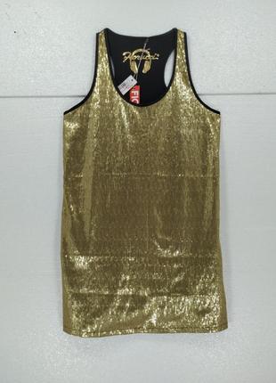 Платье золотое в паетках fiorucci