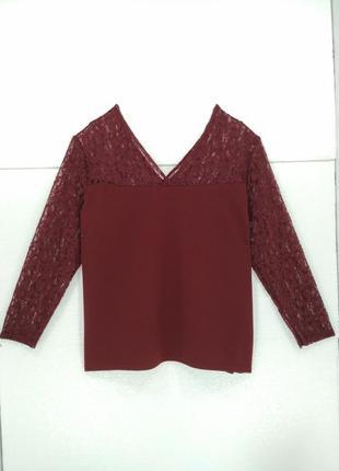 Блузка бордовая с кружевными рукавами 60 размер Kiabi