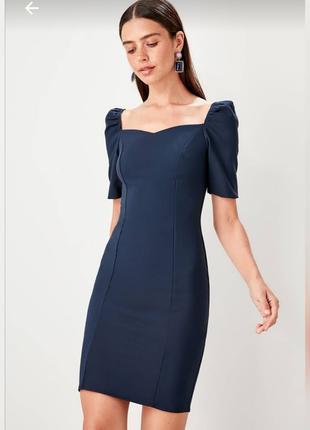 👗Темно-синее платье пинал с рукавами