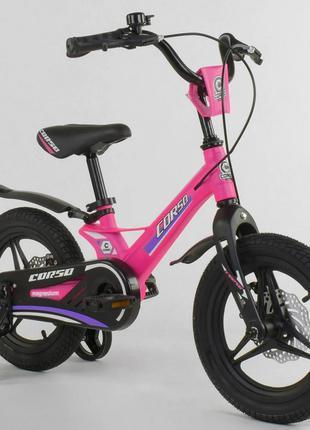 """велосипед 14"""" с магниевой рамой литыми дисками дисковые тормоза C"""