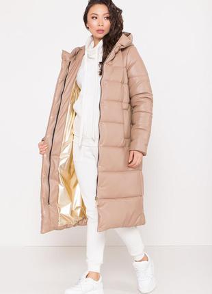 Распродажа зимней одежды!!! удлинённый пуховик из экокожи *!ка...
