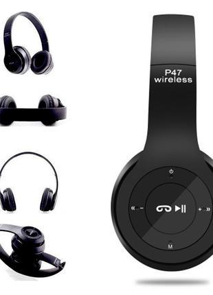 Наушники беспроводные wireless P47 FM Радио MicroSD