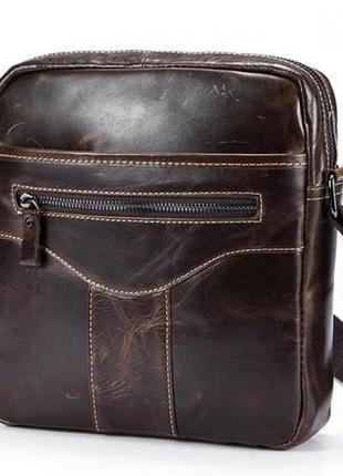 Мужская кожаная сумка через плечо сумка мессенджер коричневая ...