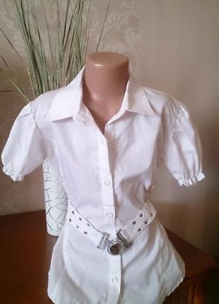 Блузка рубашка с коротким рукавом