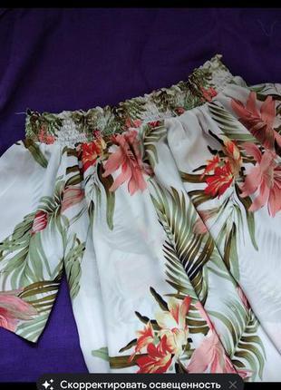 Свободная летня блузка блузон рубашка в цветы