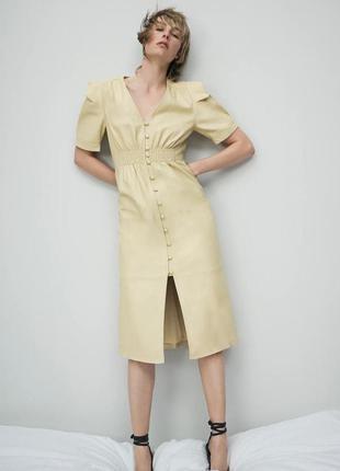 Кожаное платье миди zara ванильного цвета