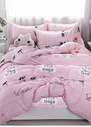 Детский комплект постельного белья собачки мопсы
